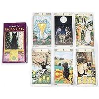Pagan Cats Deckのタロット 78カードファミリーパーティーの運命区切りゲーム - タロットカード 初心者セットのために 英語版