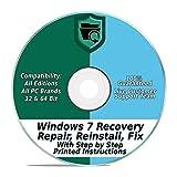 Windows 7 Repair & Recovery Disk 32 & 64 Bit DVD Reinstall Reboot Fix ALL Brands HP, Dell, Asus, Toshiba, etc. Laptop / Desktop Computers [Instructions & Support]