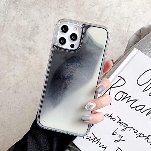 ZXMDP Funda para teléfono Glitter Luminous Neon Sand Funda para iPhone 6 6s 7 8 Plus 11 Pro X XS MAX XR Liquid Quicksand Glow Funda para teléfono, Negro, para iPhone 11promax