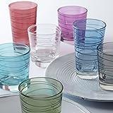 Leonardo Vario Struttura Becher klein Laguna, 6-er Set, 250 ml, türkisfarbenes Klarglas mit Colori-Hydroglasur, 018231 - 4
