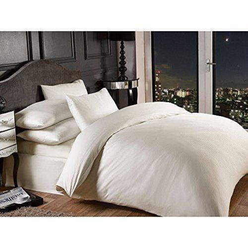 Grovesnor Satin Stripe Cotton Rich 1000 Thread Count Duvet Cover Set Bedding, Double, Polycotton, Cream