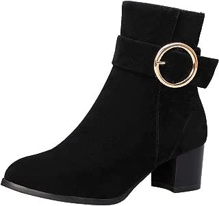 ELEEMEE Women Block Heel Ankle Bootie Zip