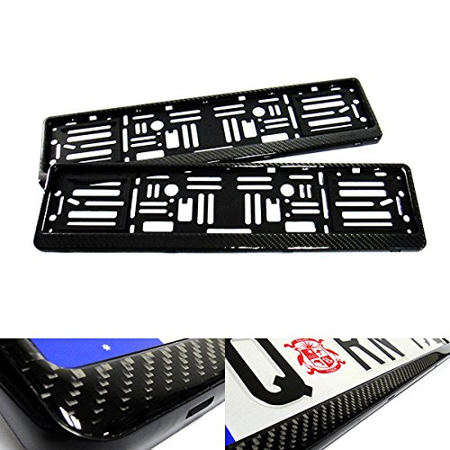 2x Genuine 3D Carbon Fibre Fiber UK EU Car Licence Registration Number Plate Holder Surround Frame Black