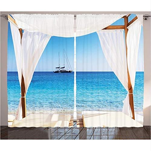 WKJHDFGB Balinesische Vorhänge Strand Durch EIN Balinesisches Bett Sommer Sonnenschein Klarer Himmel Flitterwochen Natürliche Spa Bild Wohnzimmer Schlafzimmer Dekor,215X200Cm
