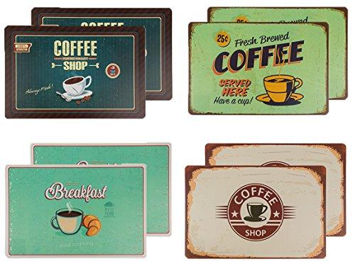 Bada Bing 8er Set Tischset Coffee Retro Look Frühstück Kaffee Retroschild Coffee Shop 235
