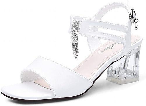 LTN Ltd - sandals Strass Romain Sandales à à Talons épais Chaussures D'été Populaire, Blanc, 39  rentable