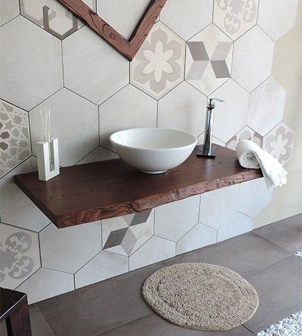 Plank voor wastafel van massief hout, afmetingen 100 cm, voor badkamer