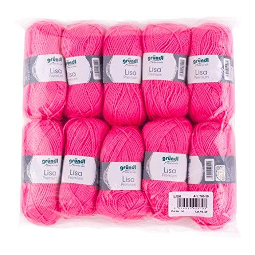 Gründl Lisa Premium Wolle, Polyacryl, neonpink, 32 x 27 x 6 cm