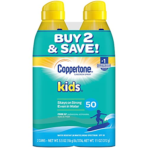 Coppertone KIDS Sunscreen Continuous Spray SPF 50 (5.5 Ounce, Pack of 2) (Packaging May Vary)