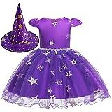 Aunavey - Disfraz de tutú Bordado para niñas y bebés con Gorro de Bruja (Púrpura, 2-3 Años)