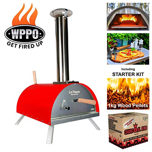 WPPO Le Peppe Multi-Fuel Deluxe Stainless Steel Outdoor Pizza Oven, Wood Fired Portable Oven and BBQ, Built-In Thermometer + FREE Starter Kit in Red