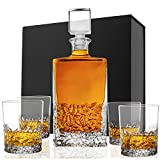 Premium Whiskey Decanter Set in a Gift Box - 5 PC Crafted Crystal Decanter with Glass Stopper (800ml) & 4 Old Fashioned Whiskey Glasses (270ml), Gift Idea for Men, Him, Dad - Scotch, Bourbon, Vodka