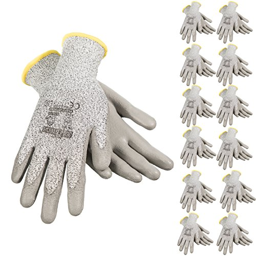 JORESTECH Safety Work Gloves Grey HPPE Knitted Fiber with Polyurethane (PU) Coating EN-388 Level 5 Pack of 12 GD-02 (Size 10-XL)