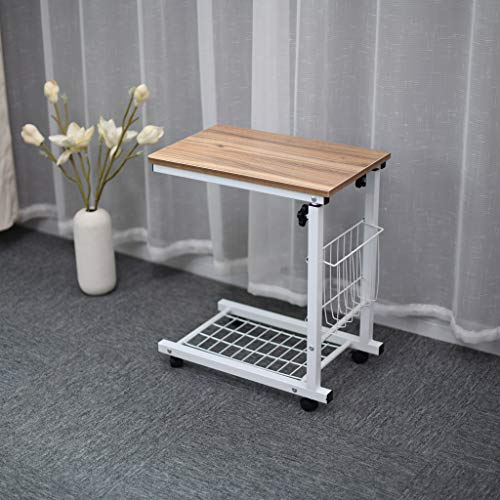 Height Adjustable Mobile Lap Table Computer Desk Stand Desk Height Table Side Table for Bed Sofa Side Table with Wheels Couch Table That Slide Under with Storage Shelves C Style for Home/Room/Office