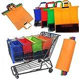 favourall 4PCS bolsa de almacenamiento. Juego de bolsas para ropa y zapatos, reutilizables para todos los coches de supermercado, para el hogar, la cocina, negro, rojo, verde, naranja