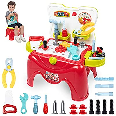 Amazon - Save 20%: UNIH Kids Tool Bench Toys 29 Pieces 2 in 1 Toddler Tool Set Toys Early Educa…
