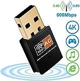 XVZ USB WiFi dongle para PC 600Mbps doble banda 2.4GHz/5GHz antena de...