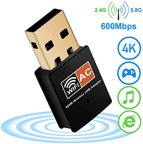 XVZ USB WiFi Dongle für PC 600Mbps Dual Band 2.4GHz/5GHz Fast High Gain Antenne 802.11ac Wi-Fi Wireless Netzwerk Adapter für Desktop Laptop unterstützt Windows Mac und Linux