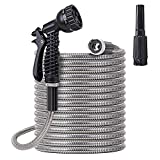 Stainless Steel Garden Hose 75 ft - Metal Water Hose with 2 Nozzles, Lightweight, Tangle Free & Kink Free, Heavy Duty,...