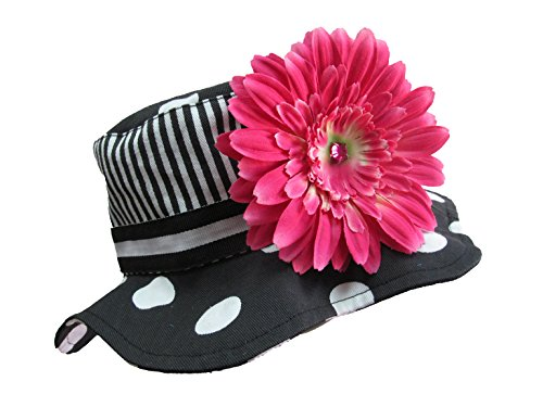 Jamie Rae Hats - Black with White Dot Sun Hat with Candy Pink Daisy, Size: 4-6Y