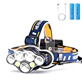 Rechargeable Headlamp (Included Batteries), 12000 Lumen Super Bright Headband Light, 7 LED 8 Modes, Adjustable Headband, Lightweight & Comfortable for Camping, Fishing, Cycling, Outdoor, Adults, Kids