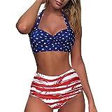 Briskorry Bikini para mujer de verano, cintura alta, estilo vintage, tallas push up, parte superior estampada, ropa de baño de dos piezas