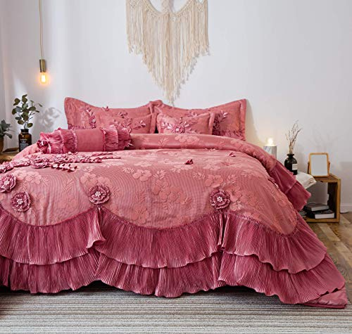 Tache Elegant Satin Lace Cascading Ruffles Floral Embellished Victorian Rose Pink 6 Piece Bedding Set Royal Princess Dreams Comforter, Queen