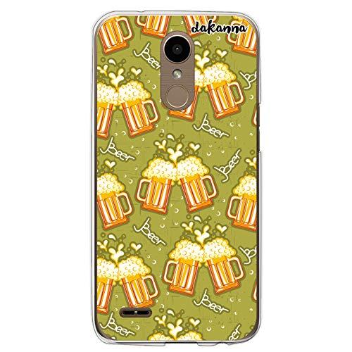 dakanna Funda Compatible con [LG K10 2017] de Silicona Flexible, Dibujo Diseño [Patron de Cerveza y Frase Beer], Color [Borde Transparente] Carcasa Case Cover de Gel TPU para Smartphone