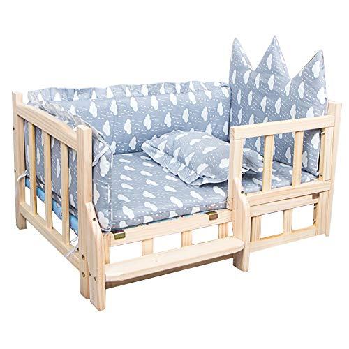 Erhöhtes Haustierbett Erhöhtes Hundebett Aus Holz mit Abwaschbarer Matte und Treppen für Große und Mittelgroße Hunde. Kleiner Hund für Den Innen- und Außenbereich. Abnehmbarer Holzrahmen