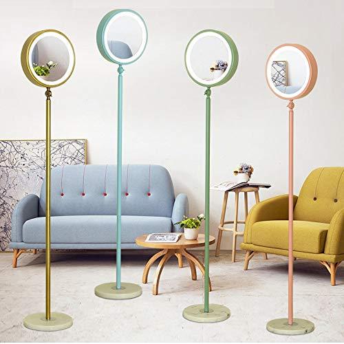 ZGQA-GQA Lámpara de pie LED norteamericana y europea, sala de estar, dormitorio, lámpara de estudio simple, lámpara de pie de oro posmoderna (color de la pantalla: rosa)