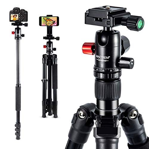 MACTREM Professional Camera Tripod with Phone Mount, 62' DSLR Tripod for Travel, Super Lightweight and Reliable Stability, Ball Head Tripod Detachable Monopod with Carry Bag ( Black)