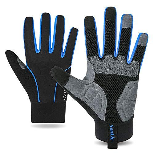 Santic Guantes Ciclismo Guantes de Pantalla Táctil Todos los Dedos Acolchado Antideslizantes y Amortiguadores Invierno Térmico MTB Azul