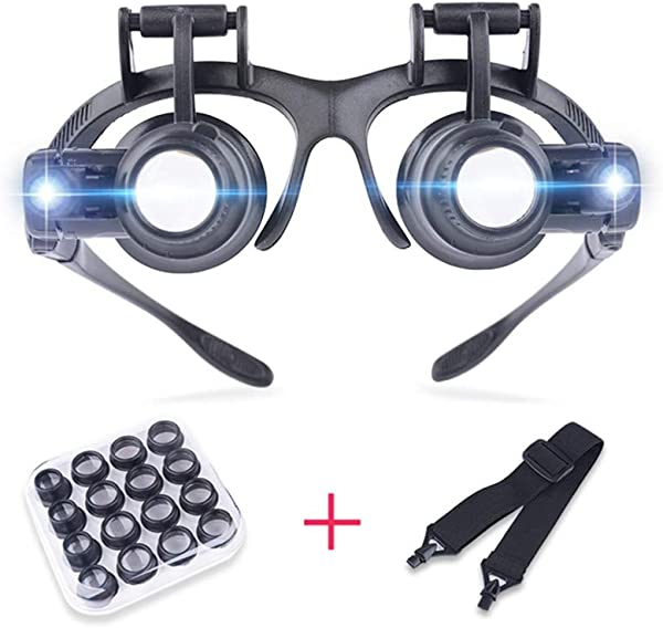 Magnifying Glass Head Mounted With Light Magnifying Loupe Reading Aid Lens Suitable For The Elderly Low Vision For Macular Degeneration Seniors Reading Loupe 8 Lens