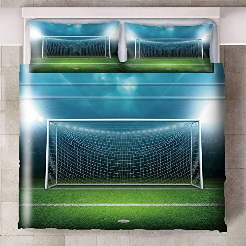 Bedding Fußballfeld 180X220Cm Bettbezug Für Kinder, Jungen, Mädchen Bettwäsche-Set Weich Und Angenehme Hypoallergen Mikrofaser