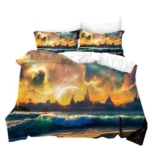 3D Fantasy Aurora Printed Bedding Sets Quilt Cover Pillowcase Antarctic Arctic Iceland Microfiber Duvet Cover Outer Space Galaxy Color Bed Linen Set 2/3 Piece (Colorful 3,Double 200x200cm)