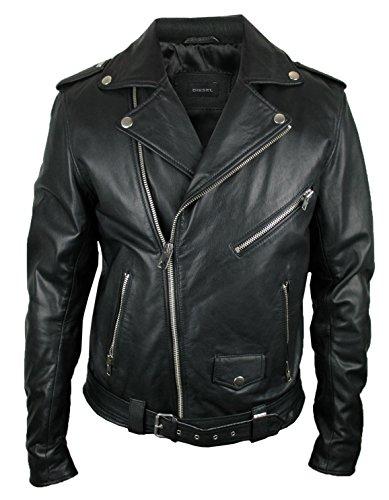 Diesel Leder-Jacke | schwarz kräftiges weiches Ziegenleder | Lederjacke 00SYYA (2XL)
