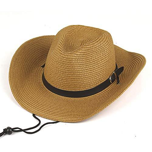 Azly-Caps Paille avec des Chapeaux de Cowboy de Ceinture, Chapeaux de Soleil Pliables de Panama Unisexe avec la Ficelle de Cou de Cordon pour la Plage Large Bord Occidental,Laiton