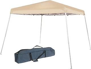 Abba Patio 10 x 10-Feet Slant Leg Instant Easy Pop Up Folding Canopy with Carry Bag, Khaki