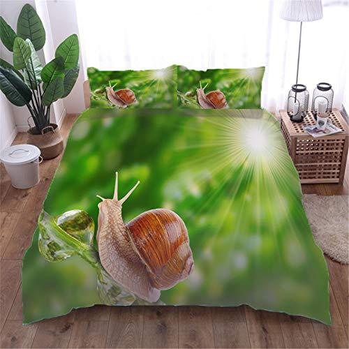 Påslakan sniglar med 2 örngott 3D-tryckt sängkläder set täcke fodral barn tonåringar mikrofiber dragkedja stängning vuxna barn enkel - 140 x 200 cm