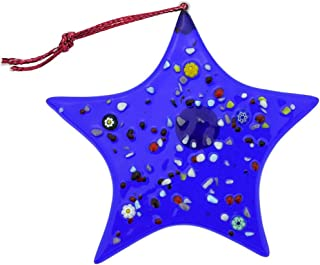 GlassOfVenice Murano Glass Star Christmas Ornament - Blue