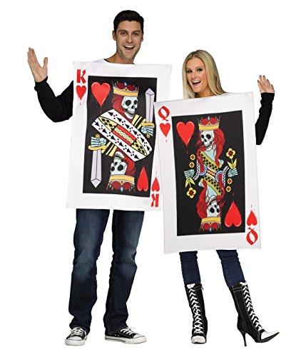 Generique – kostuum voor volwassenen, koning en koningin van het hart, voor volwassenen, kostuum voor koppels van koning en koningin van het hart. M Goud