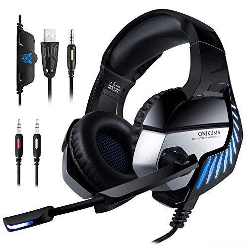 High-End-Gaming-Headset K5 Pro-Over-Ohr 7.1 Surround-Sound-Geräusch-Kündigungs-Gaming-Headset mit Mikrofon 3,5-mm-Stereo-Kopfhörer für PS4 Gamepad Neuer Xbox-Laptop-Computer, blau Peng