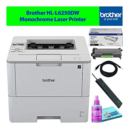 Brother HL-L6250DW Compact Wireless Monochrome Laser Printer with Auto-Duplex Best-Value Bundle - Includes - Essential Cleaning Kit + Extra Toner
