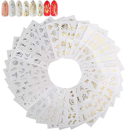FOGAWA Nagelsticker 30 Blätter Nagel Sticker Nagel Aufkleber Fingernägel Nail Stamping Gold Silber Nailart Sticker für DIY Nagelstudio Halloween Weihnahten