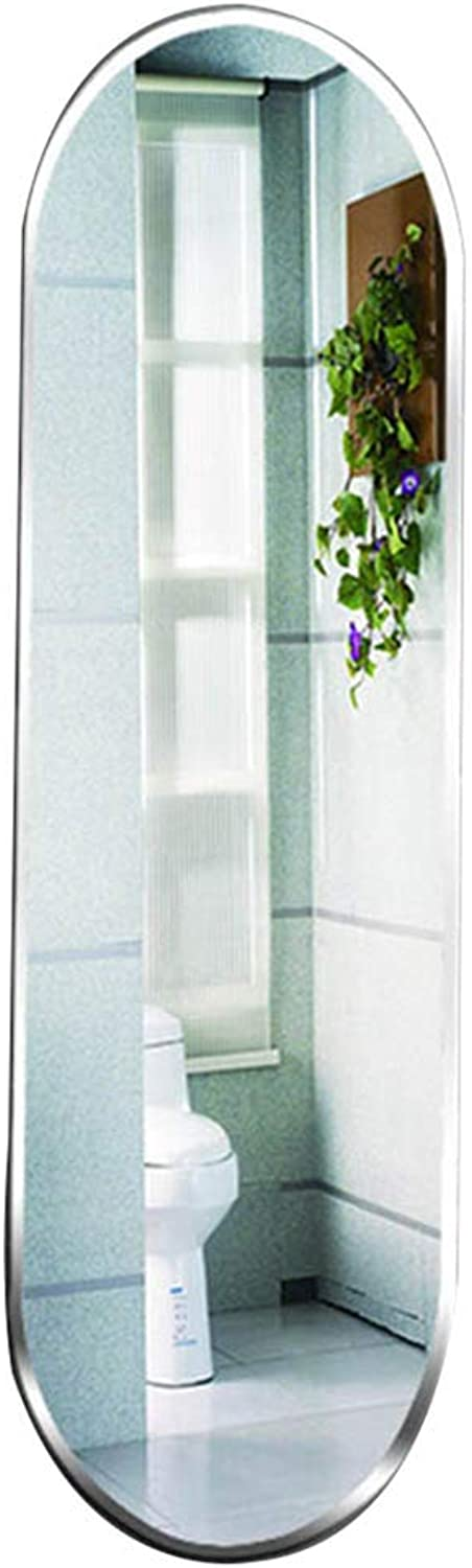 YANZHEN Mirror Wall-Mounted Paste Explosion Proof Ultra-Clear Rounded Frameless Delicate Edging Bathroom Bright Float Glass (color   Silver, Size   26.5x75.5cm)