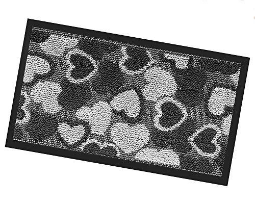 Paillasson asciugapassi intérieur extérieur 40 x 70 Premium antinciampo Tapis Natte cœurs mod.Silver ou gris