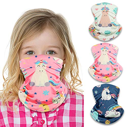 Kids Neck Gaiter Face Mask for Boys Girls Face Cover Scarf Bandana Balaclava Adjustable Reusable Washable 3 Pack (Unicorn)
