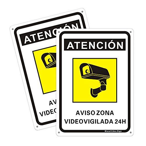 2pcs Señal de Advertencia de Zona de Videovigilancia 18*25cm Amarilla