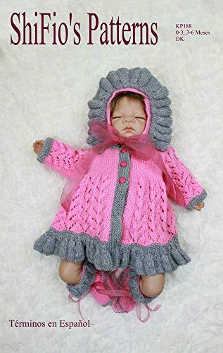 patrón para dos agujas – KP188 - chaqueta matinée, sombrero y botitas/patucos para bebé