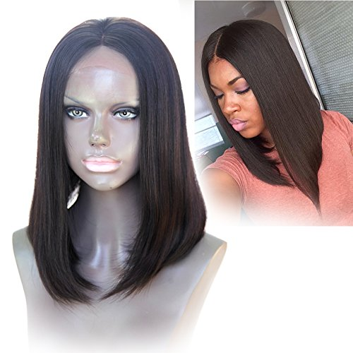 Cbwigs Perruque brésilienne Remy courte raide avec dentelle frontale pour femme noire 11,4 cm de profondeur Densité 150 % Cheveux humains lisses et soyeux Couleur naturelle 35,6 cm